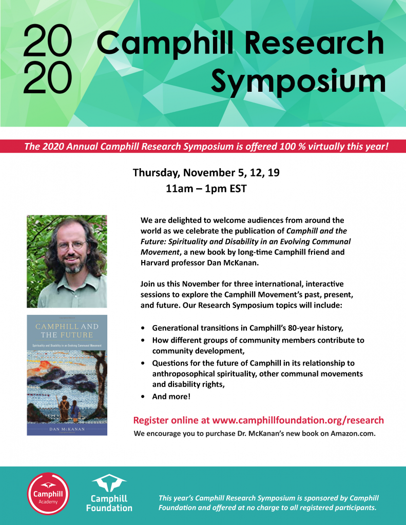 a flyer for the Camphill Research Symposium